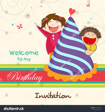 many stock birthday party invitation card vector creation kids birthday celebration invitation card stock vector