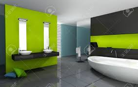bathroom with modern and contemporary design and furniture colored