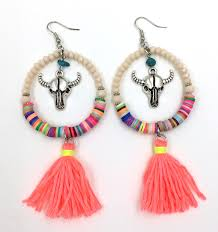 style of earrings new dangle earrings with cotton tassel summer style