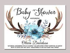 floral antlers baby shower invitation blue boy baby shower