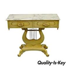 Entry Table Ls Vintage Painted Marble Top Lyre Harp Base Console