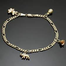 ankle bracelet gold images Yellow gold charm ankle bracelet for sale at 1stdibs jpg
