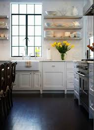 black wooden floor and stunning floating shelves for english