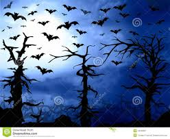 halloween bats background dark blue forest and bats scary background stock illustration