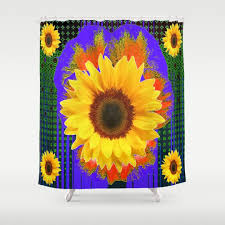 Sunflower Yellow Curtains by Blackpatterns Shower Curtains Society6