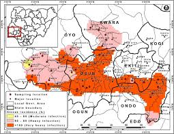 Nigeria State Map by Survey Of Resurgence Of Maize Diseases In South Western And Kwara