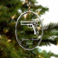 etched glass ornaments personalized personalized engraved glass christmas ornament handgun gun