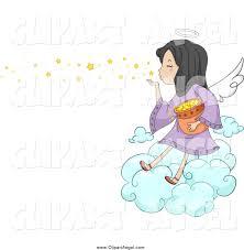 illustration vector cartoon of a cute angel blowing stars