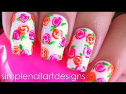 neon floral nail art tutorial youtube