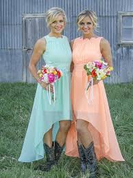 bridesmaid dresses with cowboy boots dress bridesmaid dress dress boots chiffon dress high low