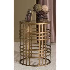Drum Accent Table by Innerspace Barrel Accent Table With Weave Antique Gold Hayneedle