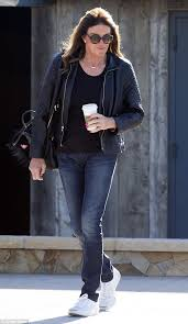 long hair on 66 year old caitlyn jenner rocks leather and skinny jeans on daily coffee run in