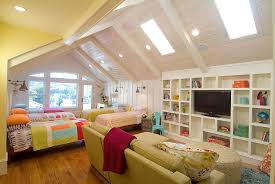 Modern Traditional Bedroom - traditional kids bedroom with twin beds and skylights eva furniture