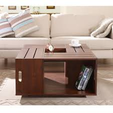 Small Square Coffee Table by Amazon Com Iohomes Trenton Crate Coffee Table Vintage Walnut