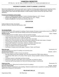 Recreation Coordinator Resume Reentrycorps by Wedding Planner Resumes Exol Gbabogados Co