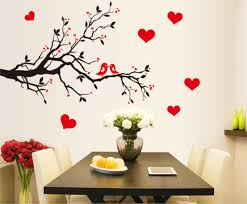 online get cheap birds and trees wall stickers aliexpress com fashion red love heart wall decor vintage life tree wall sticker home decor romantic birds wall