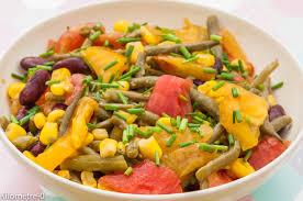 cuisiner haricots rouges salade de tomates haricots rouges maïs et haricots verts
