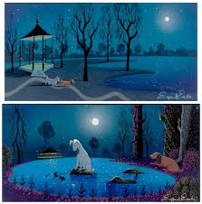 halloween background art 1950 lady and the tramp concept art animation visual development
