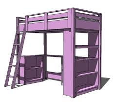 Plans For Loft Beds With Storage by Ana White What Goes Under The Loft Bed How About A Big Bookcase