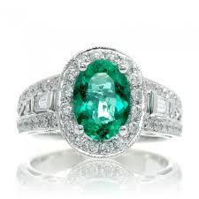 emerald bands rings images Emerald ring 9x6 oval diamond halo 2 27 carats vintage accent JPG