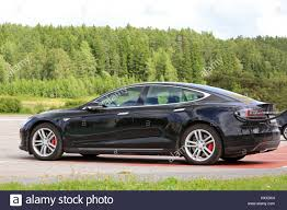 tesla model s charging paimio finland july 17 2016 black tesla model s electric car