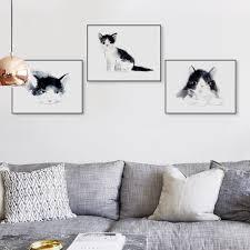 aliexpress com buy triptych watercolor kawaii animal kitty cat