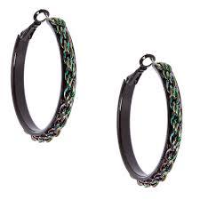 black hoop earrings metallic rainbow chain black hoop earrings icing us