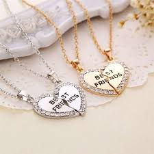 couple heart pendant necklace images Fashion friend forever series two color gold and silver broken jpeg