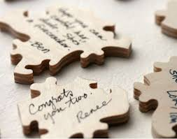 intricate nuptial keepsakes wedding puzzle guest book
