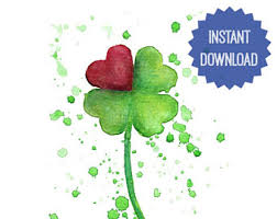 four leaf clover art etsy