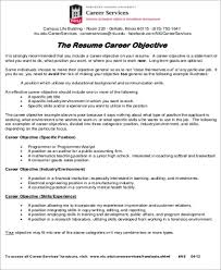 Objective Samples For Resumes by Job Objective Sample 8 Examples In Word Pdf