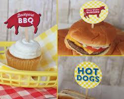 bbq printable toppers burger dog backyard bbq pig u2013 instant