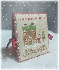 Country Cottage Needlework by Santa U0027s Village Stitched On 35 Count Linen Over One Country