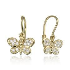 cercei din aur cercei din aur pentru fetite fluturasi cu pietre bijuterii pentru