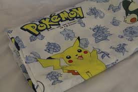 vintage pokemon twin flat bed sheet material fabric pikachu