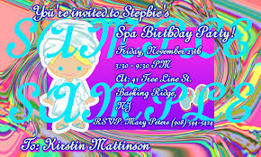 glow in dark invitations kids spa party spa parties for girls spa birthday party