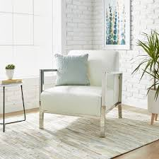 White Leather Accent Chair Silver Orchid Modern White Leather Accent Chair Free