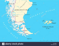 map of cities in south america falkland islands political map and part of south america with