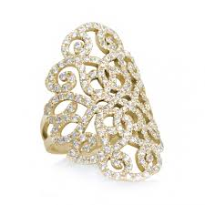 wide lace gold and diamonds ring duchess lace ring