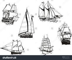 black white sketches sailing ships set stock vector 182756054
