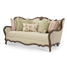 Tufted Fabric Sofa by Michael Amini Lavelle Melange Wood Trim Tufted Sofa By Aico For