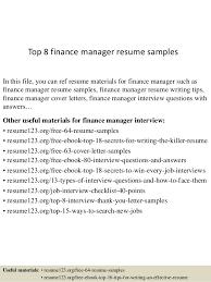 Resume Samples Finance by Top 8 Finance Manager Resume Samples 1 638 Jpg Cb U003d1429945763