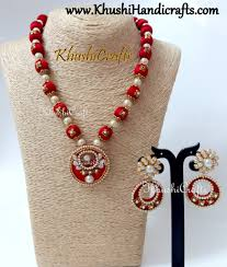 pachi earrings buy silk thread designer necklace set with pachi studded