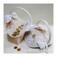 arras para boda conjunto de cestas vintage para anillos y arras
