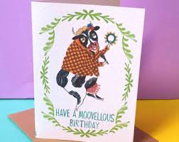 Cow Birthday Card Cow Birthday Card Etsy