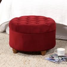 button tufted velvet berry round storage ottoman homepop