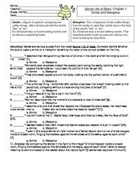 secret life of bees ch 1 8 metaphor and simile worksheets by guzman