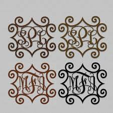 iron on monogram initials wrought iron inspired metal wall with three monogrammed