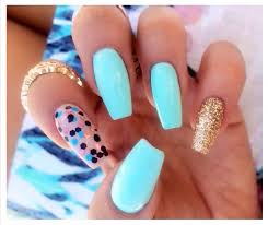gorgeous turquoise and glitter nail art nail designs