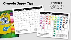 free color chart for crayola super tips markers coloring